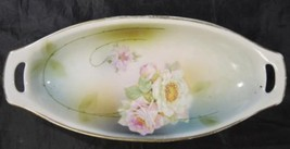 Antique Hand Painted Germany Oval Serving Bowl * White & Pink Roses - $18.98
