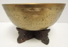 Old Brass Chinese Scenic Dragon Engraved Bowl With Stand - $56.99