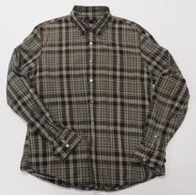 John Varvatos Large L Brown Gray Plaid Shirt Wool Blend Button Down Mens - $19.99