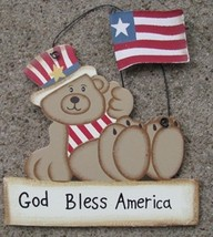 Wood 1366 -God Bless America-Teddy Bear  - $2.50