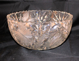 Antique Clear Cut Glass Butterfly Lotus Flower Scalloped Serving Center ... - $24.74