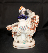 Antique Staffordshire Girl Young Woman Riding a Goat Blue Bodice White S... - $96.02
