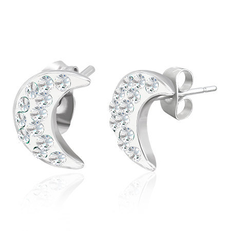 Stainless Steel Stud Earrings Crescent Moon with Cubic Zirconias