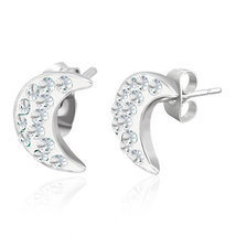 Stainless Steel Stud Earrings Crescent Moon with Cubic Zirconias - $10.00