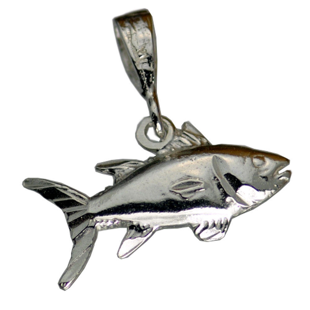 COOL 0440 Genuine Real Sterling Silver Salmon Pendant Charm Fish Fishing - $18.35
