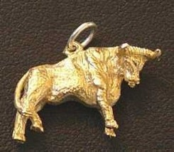 COOL 3D Silver Bull Pendant 24kt Gold plated charm Rodeo - $25.99