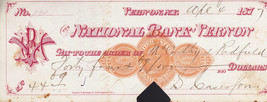 1877 The National Bank of Vernon cancelled check - $11.05