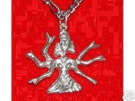 COOL 6 Arm Mother Kali Hindu Goddess Pendant Charm Sterling Silver Good Luck Jew - $24.69