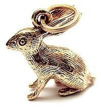 COOL Adorable 3D rabbit bunny Charm 24kt gold plated silver - $25.99