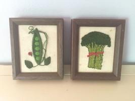 2 Vintage Framed Needlepoint Vegetables Cross S... - $25.45