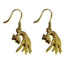 COOL Giraffe gold vermeil Dangle charm Earrings Zoo jewelry - $606,36 MXN