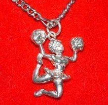 COOL Cheerleader in uniform pendant charm Sterling silver - $17.73