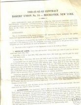 1960 Bakers Union #14- Rochester NY contract - $4.95