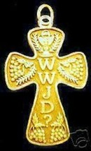 COOL Gold plated What would Jesus Do Cross Charm WWJD Silver - $37.49