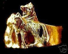 COOL Gold Plated Wolf Family Silver Ring Werewolf Jewelry - $37.49