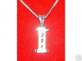 COOL Silver Pendant Charm Initial Letter I Diamond Jewelry - $18.35