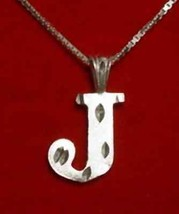 COOL Silver Pendant Charm Initial Letter J Diamond - $24.09