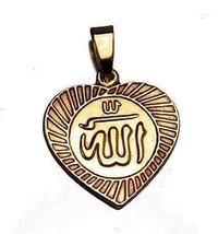 COOL Gold pltd over real sterling silver I love Allah Islam deen Islamic Muslim - $41.44