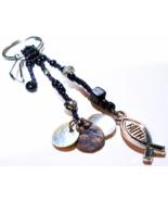 Keychain Tote Bag Accessory Purse Dangle With Christian Faith Charm, Bla... - $10.00