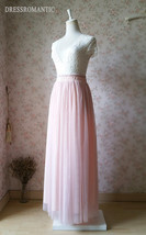 BLUSH PINK Maxi Tulle Skirt Elastic High Waist Blush Full Maxi Long Tulle Skirt  image 5