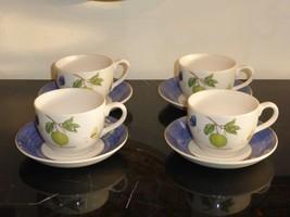 4 WEDGWOOD SARAH'S GARDEN CUPS AND SAUCERS - $120.00