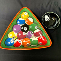 Rack Em Up Pool Table Chip N Dip Bowl Appetizer Tray Clay Art Hand Painte - £30.13 GBP