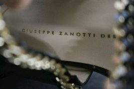 NEW Giuseppe Zanotti Black Leather Gold Cuff Cage Gladiator Sandal 38.5 Italy image 9
