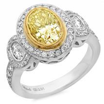 18k or Blanc Ovale Lumière Jaune Bague Solitaire Diamant W/Accents Carat... - $14,472.79
