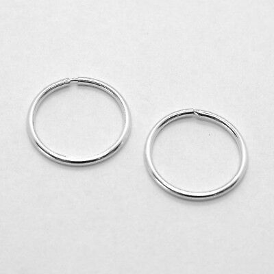 18K WHITE GOLD ROUND CIRCLE HOOP EARRINGS DIAMETER 10 MM x 1 MM, MADE IN ITALY