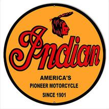 "Indian Motorcycle 1901 Series Metal Sign 24"" Round - $79.20"