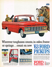 Vintage 1963 Magazine Ad Ford Pickup Trucks Toughness Counts & Hugh Kelley - $5.93