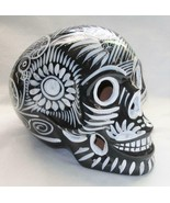 Talavera Clay Sugar Skull Mexico Day of the Dead Black with White Large S3 - $29.69