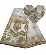 White Sequins Lace Fabric Swiss Voile Lace French Tulle Dentelle African... - $55.53