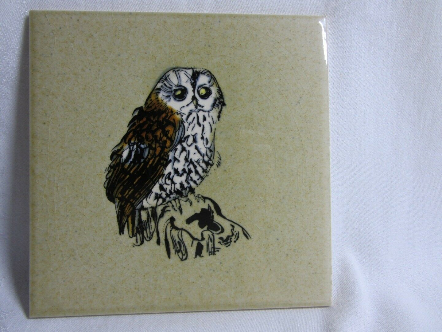Vtg 60s Owl Ceramic Tile H&R Johnson Cristal Withersdale England Hand Decorated