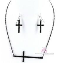 Womens Dressy Sideways Black Christian Cross Pave Crystal Necklace Earrings Set - $9.97