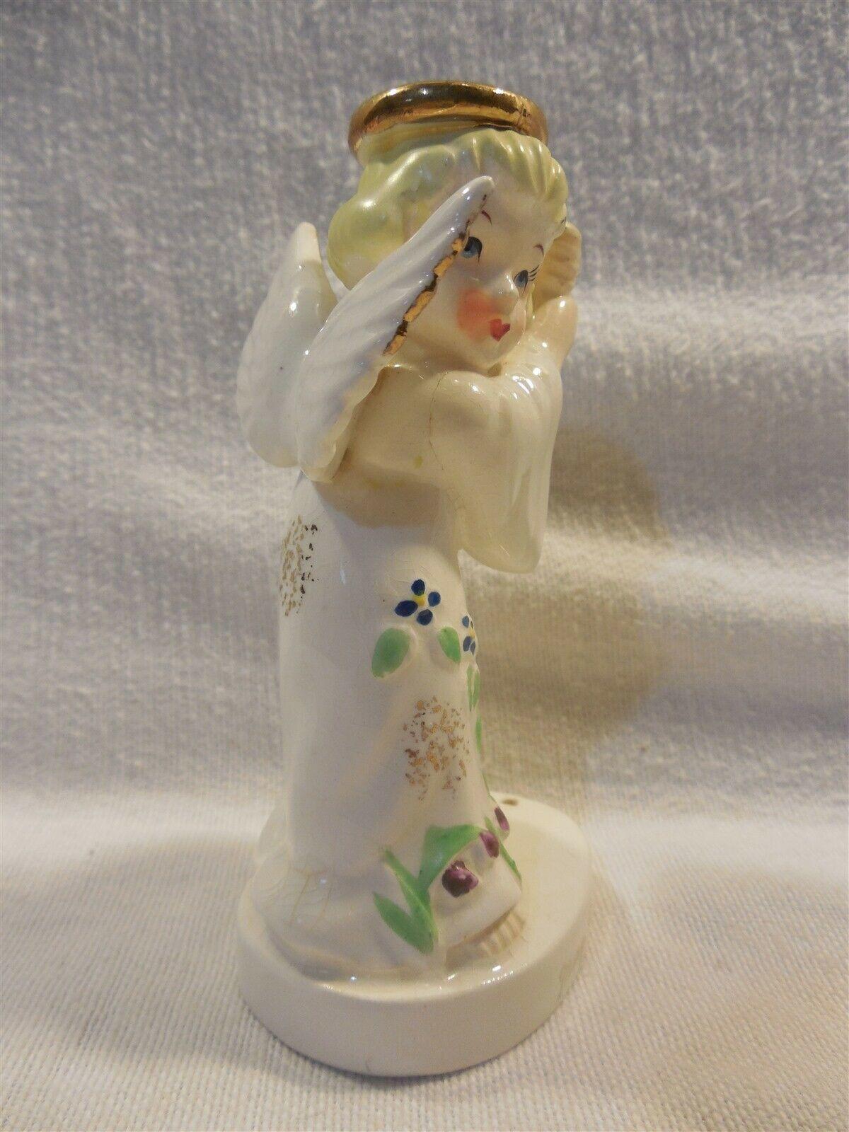 Vintage Lipper & Mann Japan Ceramic May Birthday Angel Figurine w/Umbrella As Is