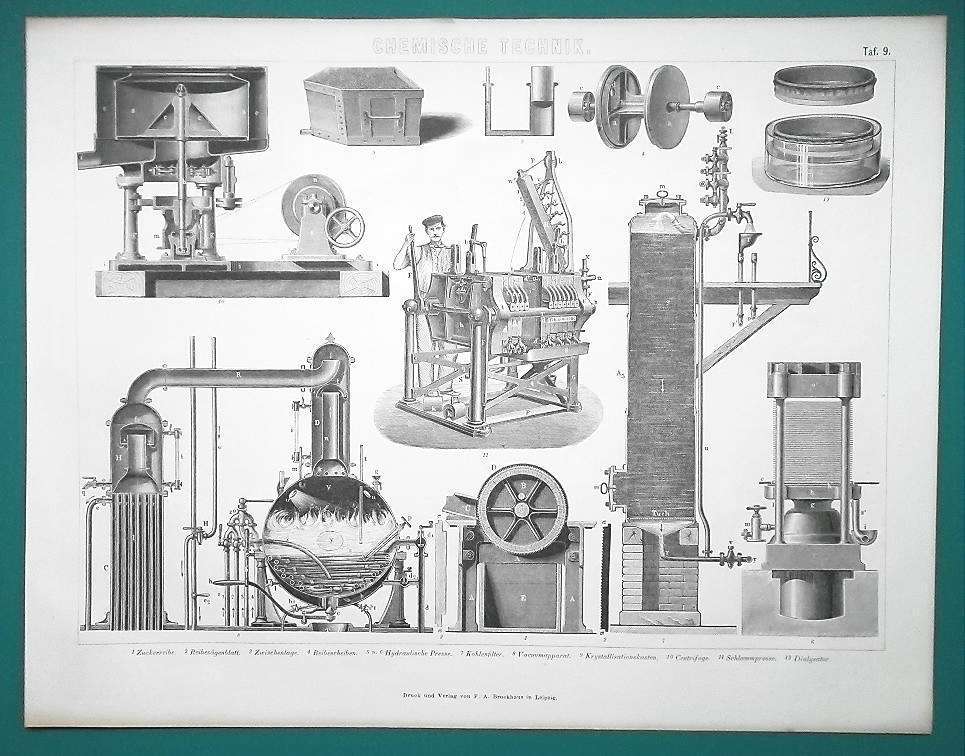 SUGAR Manufacture Grinder Sludge Press Filters Centirfuge - 1870s Superb Print