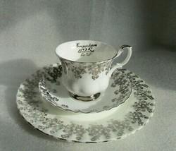 Vintage ROYAL ALBERT TRIO Tea Cup Saucer 25th Wedding Anniversary Silver Rose! - $29.65