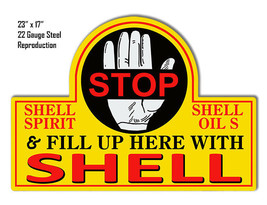 Reproduction Shell Stop Laser Cut Out Metal Sign 17x23 - $49.50