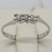 ANNEAU OR BLANC 750 18K, TRILOGY AVEC DIAMANT CARAT 0.15, MADE IN ITALY image 2