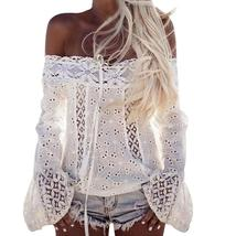 2018 Summer Sexy White Lace Blouse Shirt Women Fashion Off Shoulder Top ... - $24.64
