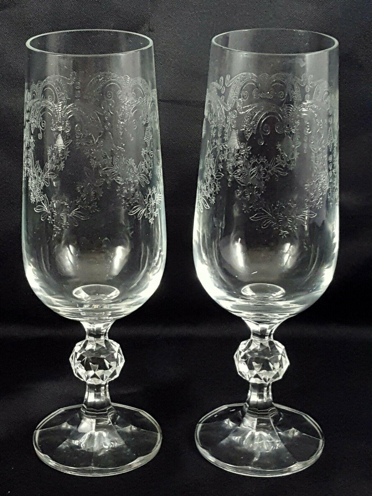 Crystalex Import Assoc Cascade Champagne Flutes Set of 2 Czech Crystal 6 oz
