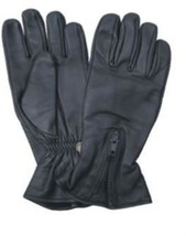 Leather Motorcycle Riding Gloves with Zippered Back - $19.95