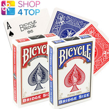 2 BICYCLE RIDER BACK BRIDGE SIZE BLUE RED MAGIC TRICKS PLAYING CARDS DEC... - $9.20