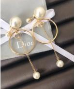 AUTH Christian Dior 2019 LIMITED ED HOOP DANGLE DROP CD LOGO PEARL EARRI... - $439.99