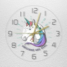 12in Unicorn Kids Wall Clock Magical Rainbow Children Gift Colourful Roo... - $47.69+
