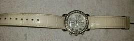 Vintage CG Ladies Wrist Watch Silver Tone, Rhinestones & MOP Face, Leather Band - $24.75