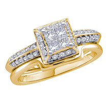 14k Yellow Gold Princess Diamond Bridal Wedding Engagement Ring Set 1/2 Ctw - $1,000.00