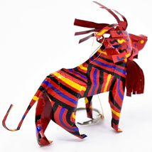 Handcrafted Painted Colorful Recycled Aluminum Tin Can Lion Ornament Zimbabwe image 4