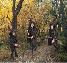 HALLOWEEN WITCH Yard Stakes Halloween Outdoor Decoration Prop Party Decor - $88.11